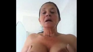Old woman showing big breasts in Whatsapp