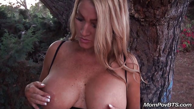 Busty Blond GILF loves public play!