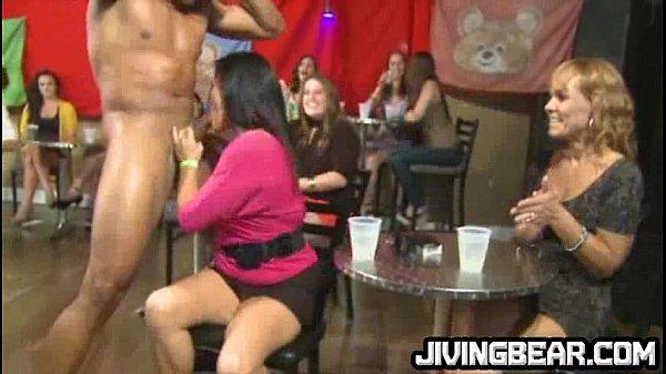Black dancer gets cock sucked by MILFs